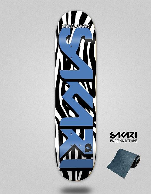 Sakari Zebra blue skate deck