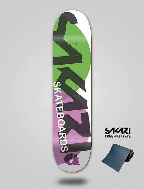 Sakari Fus green purple skate deck