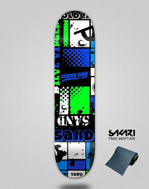 Golden Sand Snow full blue skate deck