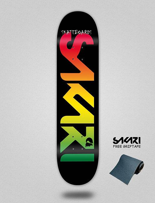 Sakari Logo rasta skate deck