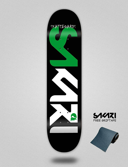 Sakari Logo green white skate deck