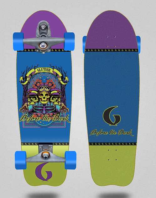 Glutier surfskate - Before the dark 31 fish T12 trucks
