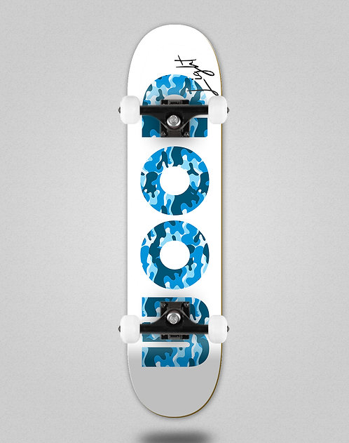 Wood light Camo Icon white blue skate complete