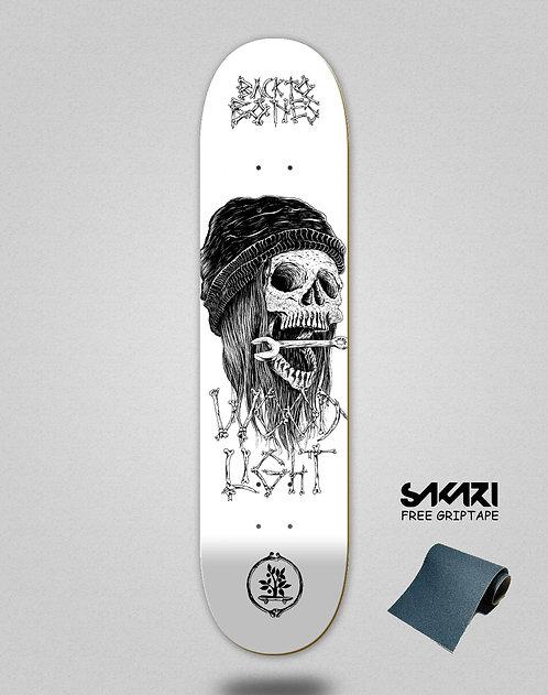 Wood light skate deck Back to bones Ortiz white