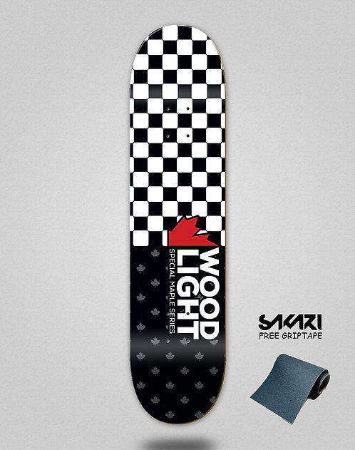 Wood light skate deck maple series squares red