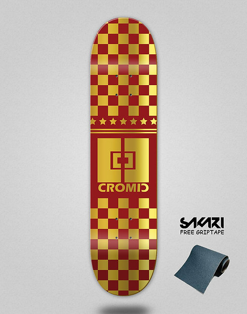 Cromic Squares red gold skate deck