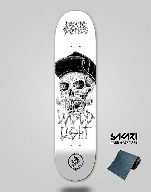 Wood light skate deck Back to bones Dias white