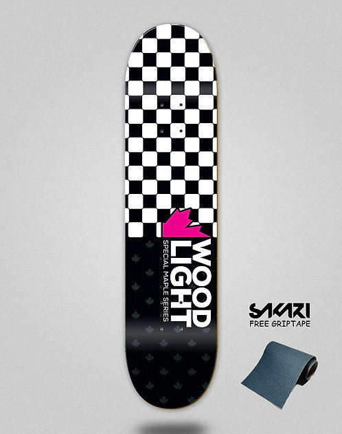 Wood light skate deck maple series squares pink