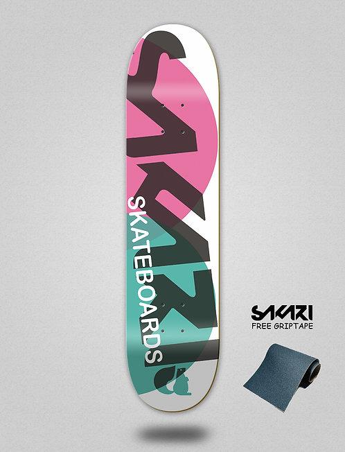 Sakari Fus pink turquoise skate deck