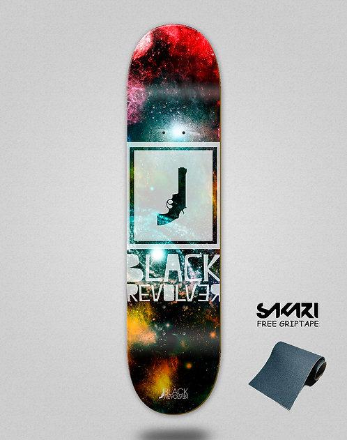 Black Revolver skate deck Space square
