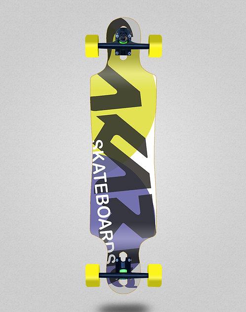 Sakari Fus yellow purple longboard complete 40x9