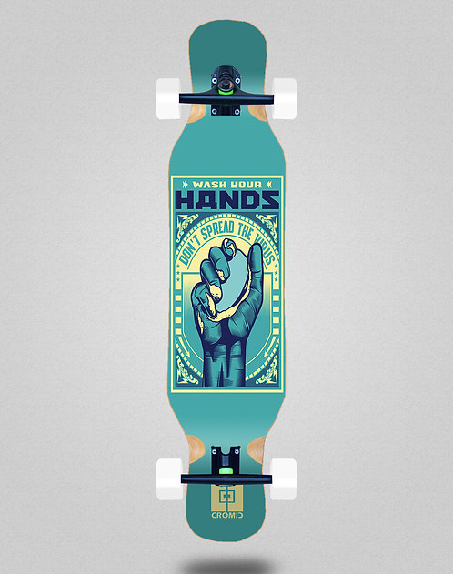Cromic Covid Wash your hands longboard complete 46x10