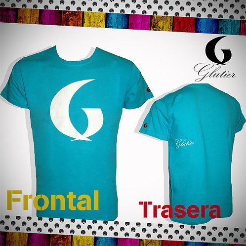 Glutier. surfskate T-shirt blue white