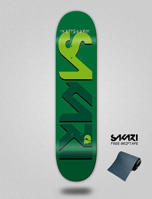 Sakari Logo green green skate deck