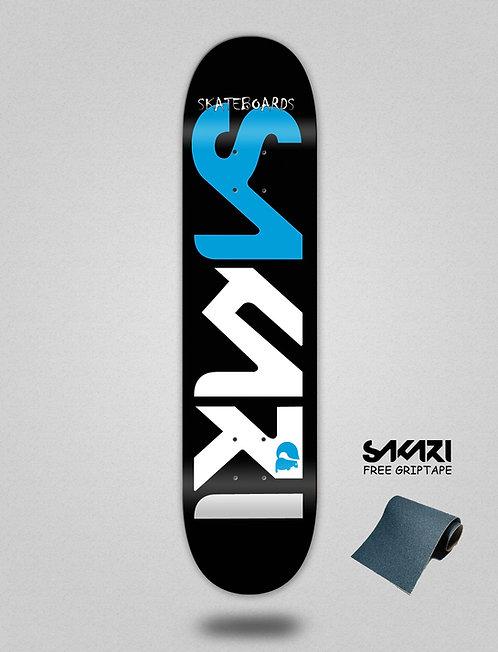 Sakari Logo blue black skate deck