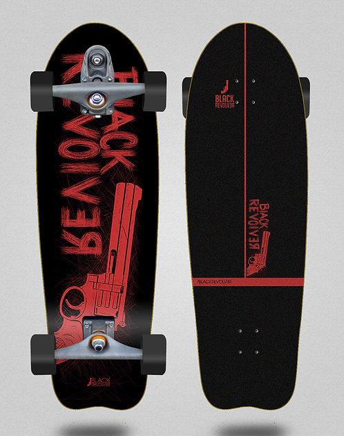 Black Revolver surfskate T12 trucks Big gun red black 31 fish