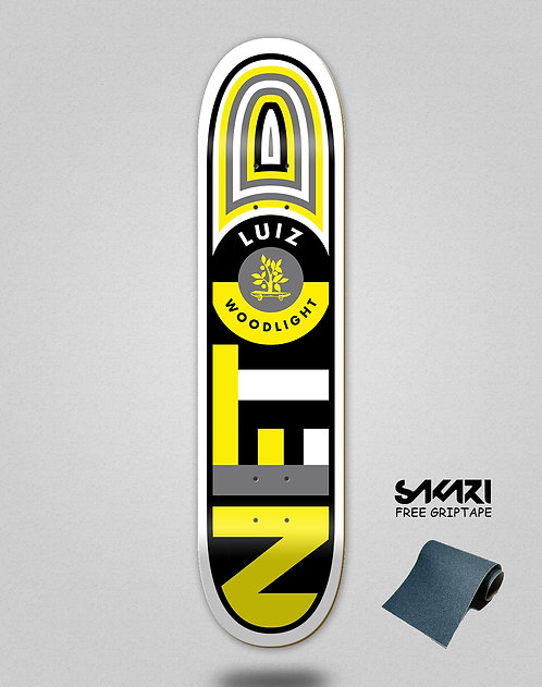 Wood light skate deck Luiz Neto flag black yellow