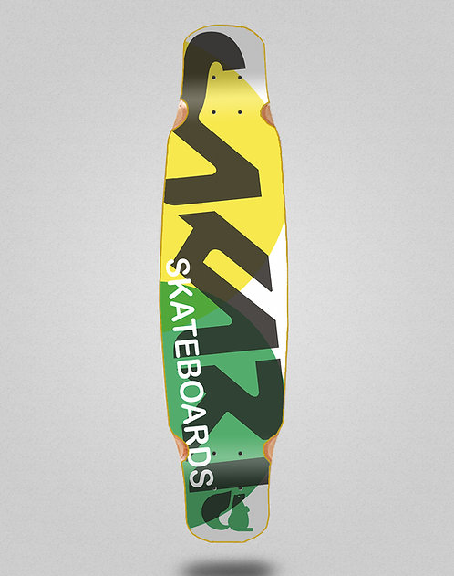 Sakari Fus yellow green longboard deck dance 46x9