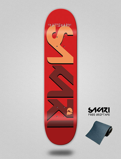 Sakari Logo red dark red skate deck