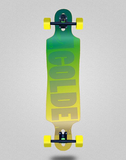 Golden Sand Degraded green yellow longboard complete 40x9