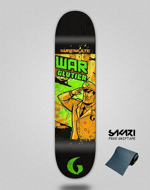 Glutier War orange skate deck
