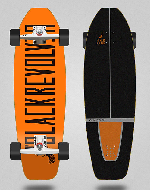 Black Revolver surfskate SGI trucks Color orange 31.5