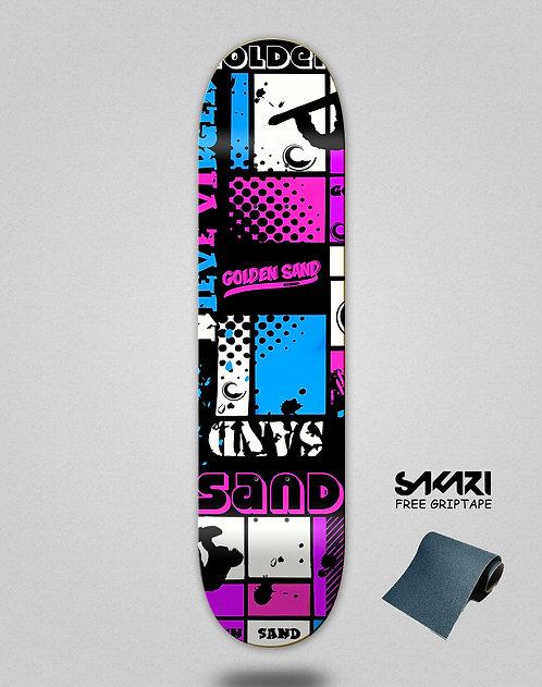 Golden Sand Snow full pink skate deck