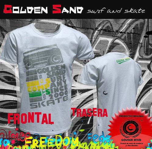 Golden Sand. T-shirt Silver radio white