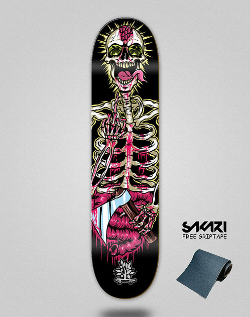 Wood light skate deck Freak show skeleton revenge
