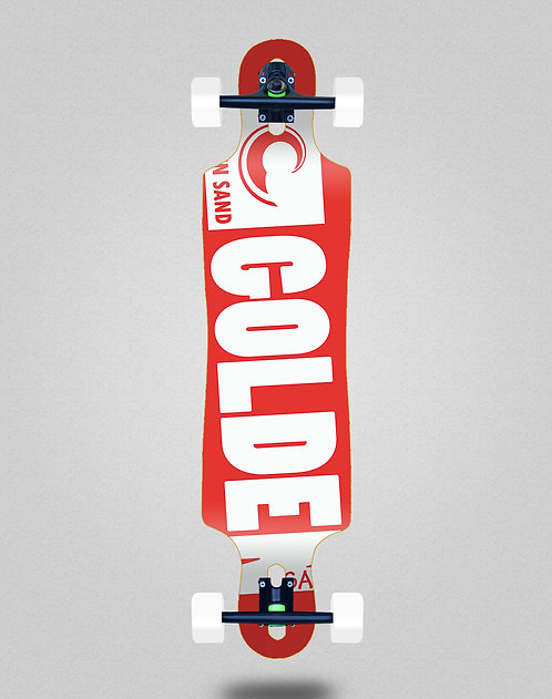 Golden Sand Degraded red white longboard complete 40x9