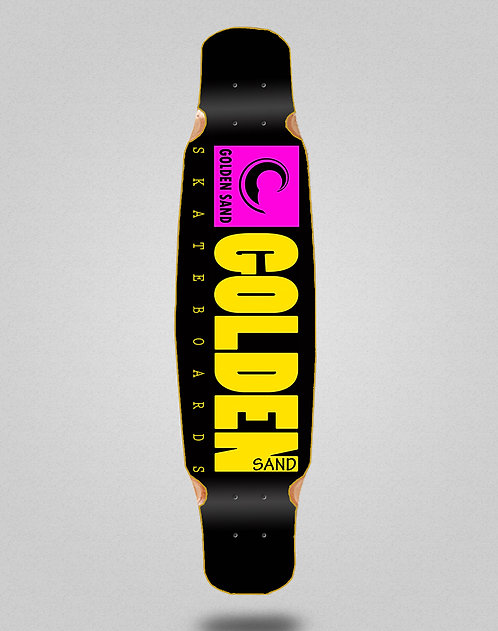 Golden Sand icon black pink yellow longboard deck dance 46x9