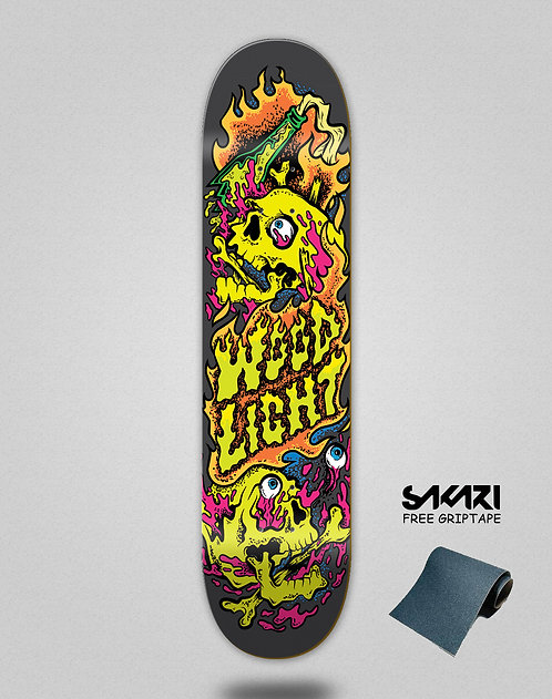 Wood light skate deck Blow up Molotov skulls