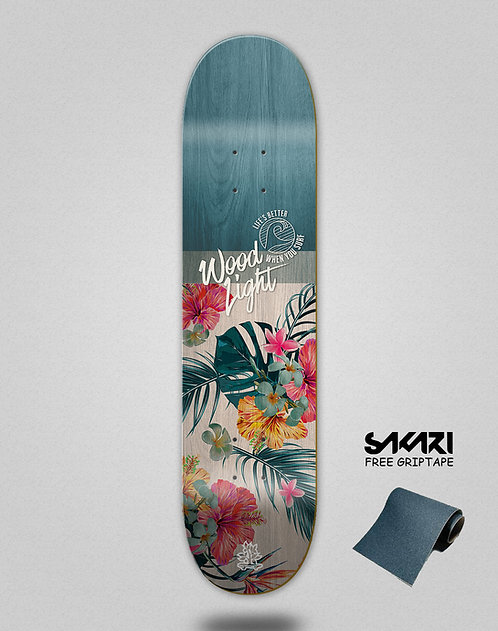 Wood light skate deck Floral Haiti