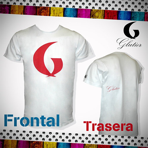 Glutier. surfskate T-shirt white red