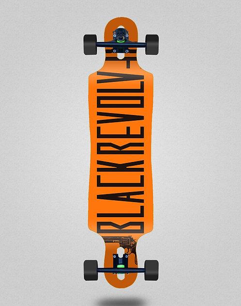 Black Revolver Color orange longboard complete 40x9