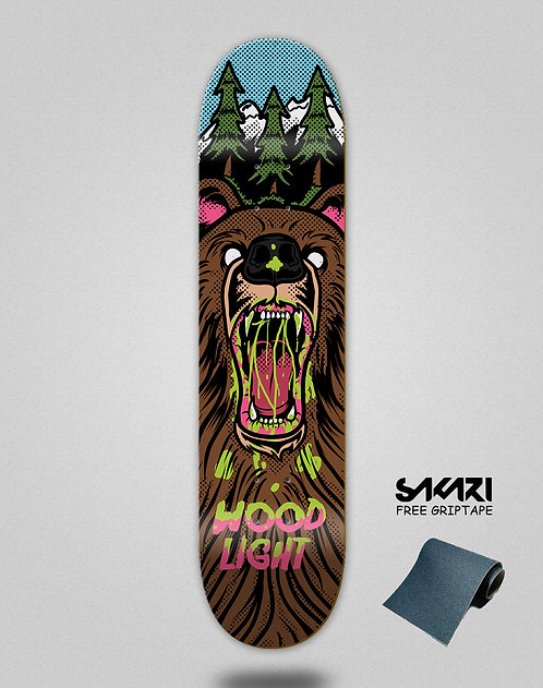Wood light skate deck Animal fight bear