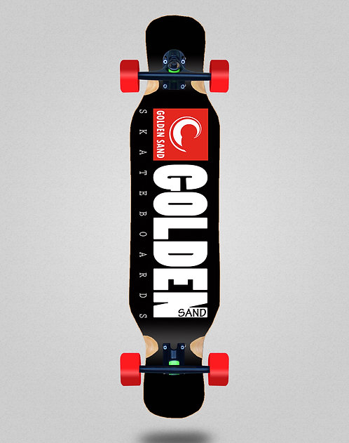 Golden Sand icon black red longboard deck 46x10