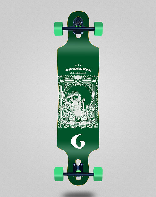 Glutier Guadalupe green longboard complete 40x9