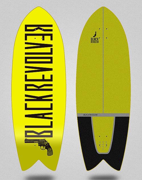 Black Revolver surfskate deck Color yellow 32