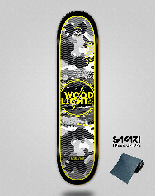 Wood light skate deck Camo black yellow