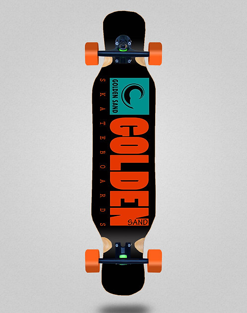 Golden Sand icon turquoise longboard deck 46x10