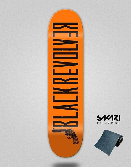 Black Revolver skate deck Color orange black