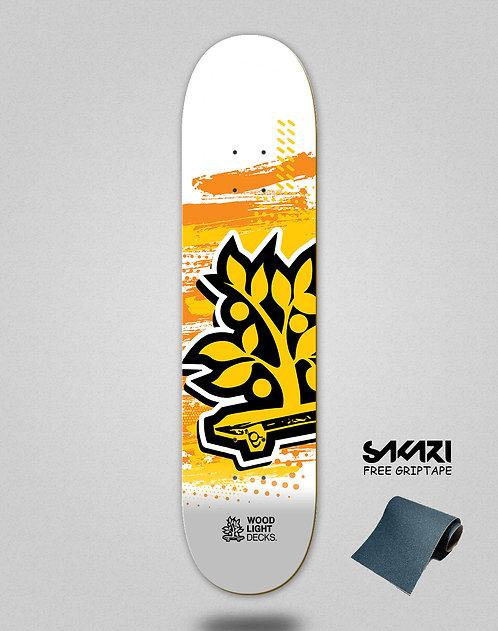 Wood light skate deck Graphic icon white