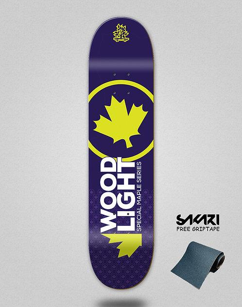 Wood light skate deck maple series navy yellow