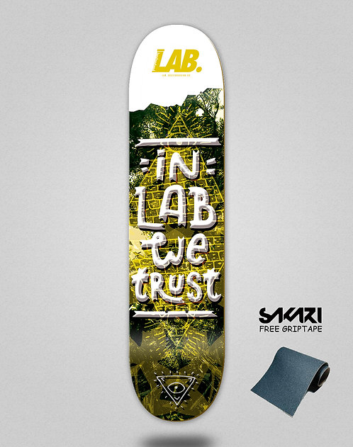 Lab skate deck In the lab we trust