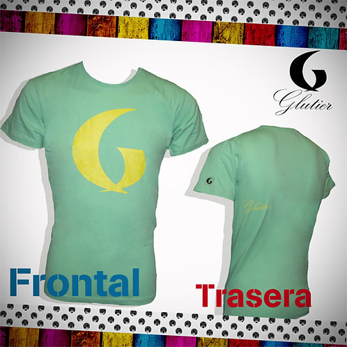 Glutier. surfskate T-shirt green yellow