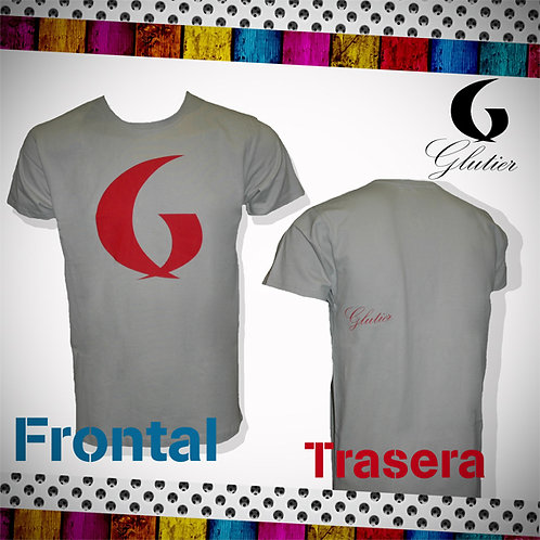 Glutier. surfskate T-shirt grey red