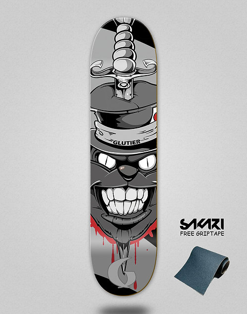 Glutier Gr cat grey skate deck