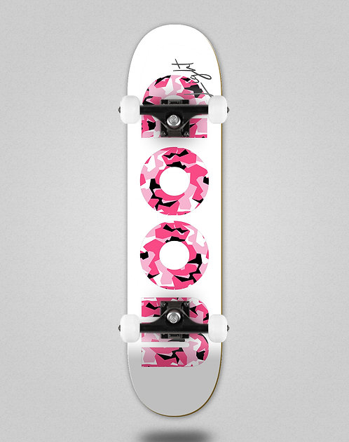 Wood light Camo Icon white pink skate complete