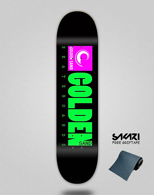 Golden Sand icon black pink skate deck